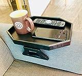 GREENANTA TV Tray Sofa Arm Clip on Snack Table Plastic Chair Armrest Tray Organizer Romote Caddy (Black)