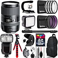Tamron 16-300mm Di II VC PZD MACRO Lens for Nikon + Elite Series Digital SLR Auto-Focus Power Zoom Flash with LCD Display, Bounce/Swivel for Nikon DSLR (Black) + LED Kit + Stabilizing Handle