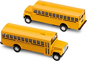 Kicko Diecast School Bus - 2 Pack Yellow 5 Inch Metal Write-on, with Pullback Action for Party Favors, and Little Boys