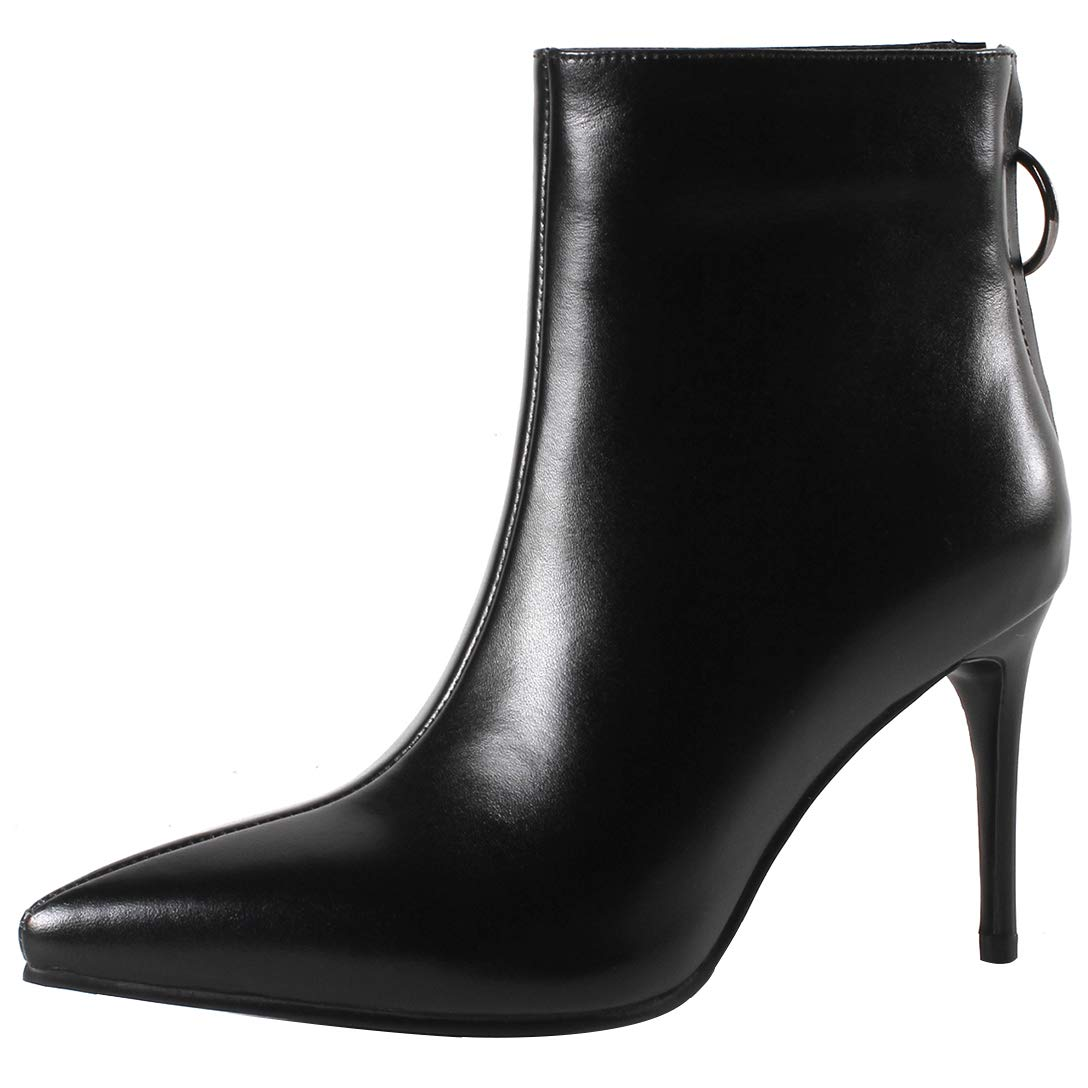 Black Eithy Women's Shagre Stiletto Ankle-high Zipper Leather Boots
