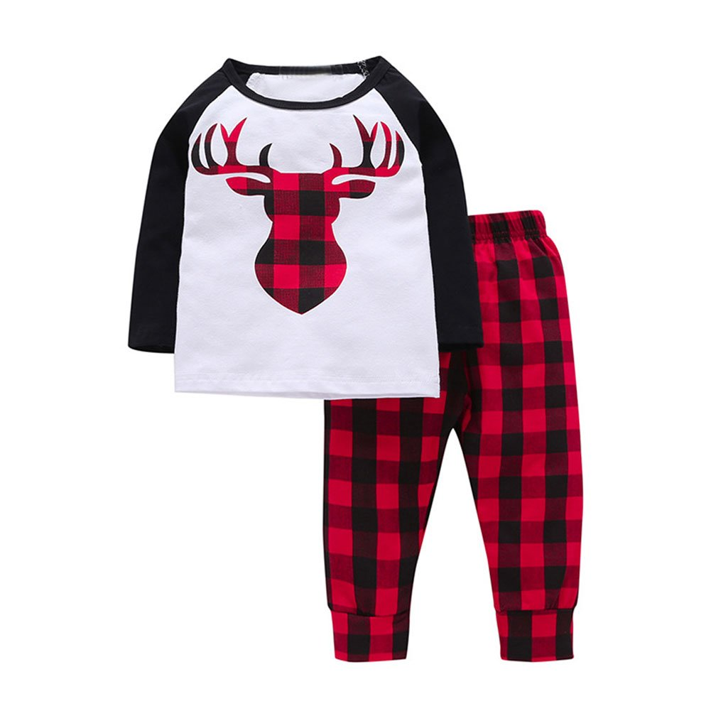 Baby Boys Girls Deer T Shirt Top Red Black Plaid Cotton Pants 2 pcs Outfits