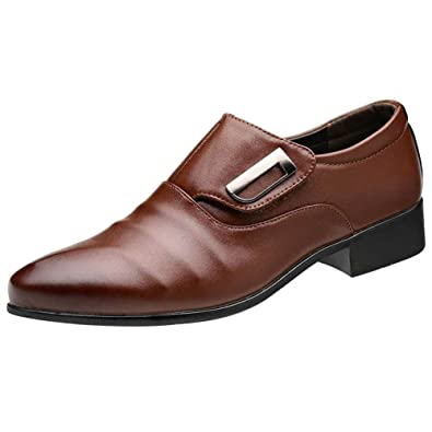 28ae13024f9 wealsex Chaussures de Ville Cuir Sans Lacets Scratch Derbies Homme Bout  Pointu Chaussures D Affaires