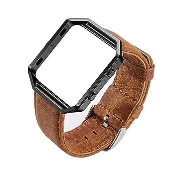 MroTech Fitbit Blaze Correa con Marco, Correa de Reloj de Cuero Genuino Vintage Pulseras de Repuesto Compatible Fitbit Blaze Smartwatch (Pulsera ...