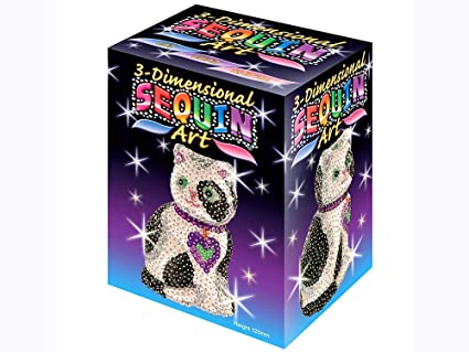 Amazon Com Sequin Art 3d Cat Sparkling Arts And Crafts Kit
