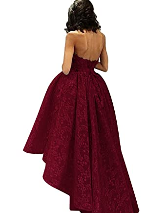 TBGirl Womens Hi Low Lace A Line Sweetheart Prom Dresses 2017 New Evening Gown
