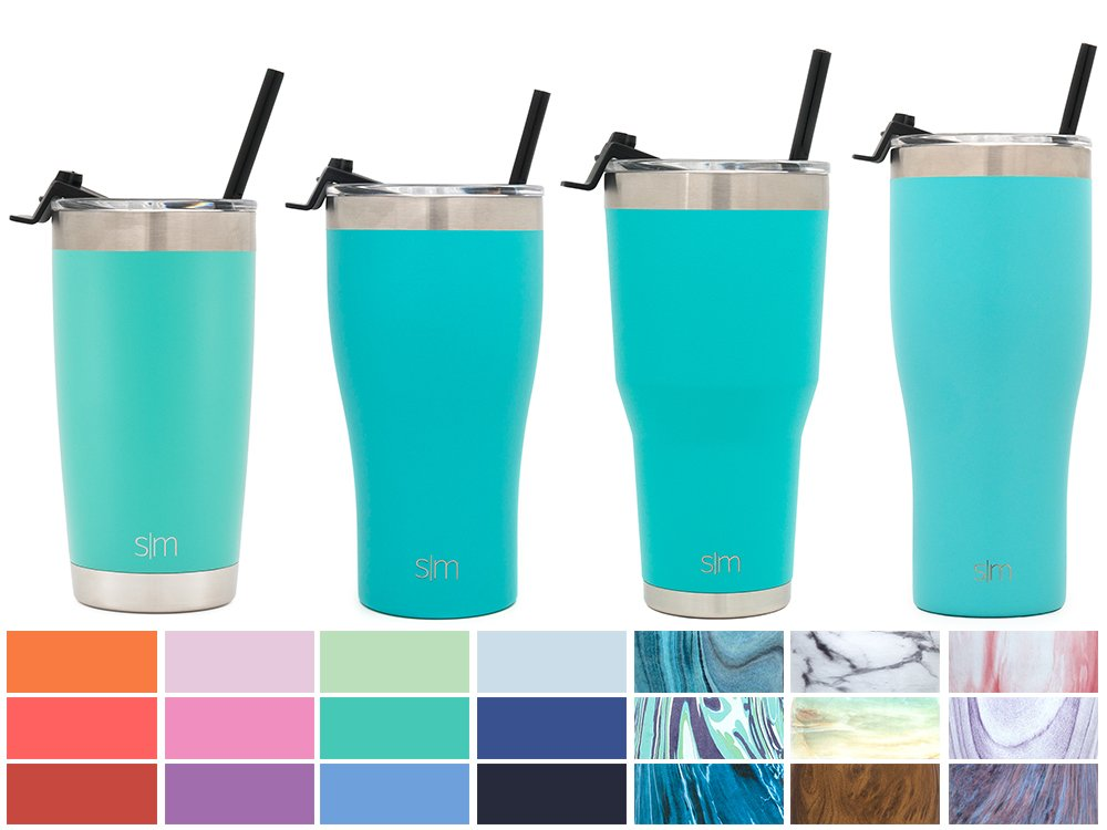 Simple Modern 32oz Slim Cruiser Tumbler with Straw & Closing Lid Travel Mug - Vacuum Insulated Water Coffee Cup Double Wall - Hydro 18/8 Stainless Steel Flask Thermos - Caribbean