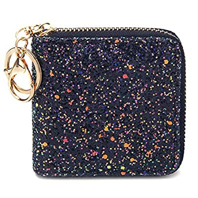 KUKOO Small Glitter Wallet for Women Cute Girls Mini Coin Change Purse with Key Chain - Black - one_size