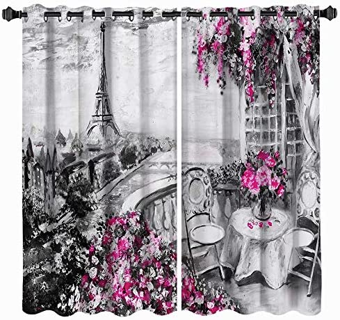 VividHome Paris Window Curtains Romantic Eiffel Towers