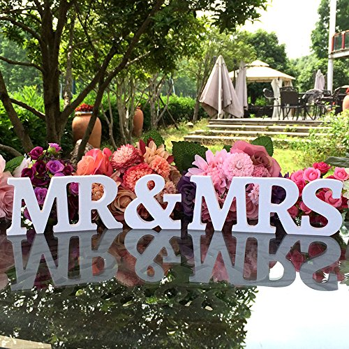 For wedding decorations amazon mr mrs wooden letters for wedding table signs vintage style wooden diy decor for wedding decoration by dgq 35 inch white junglespirit Gallery