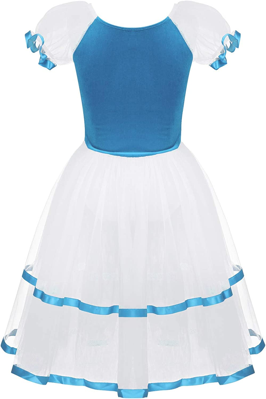 YiZYiF Kids Big Girls Puff Sleeves Romantic Long Mesh Tutu Ballet Dance Dress Ballroom Dancing Costumes