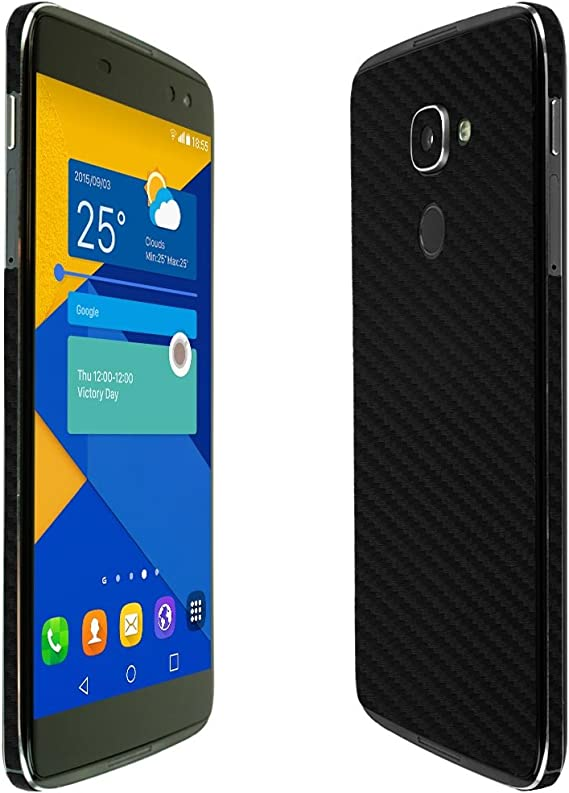 Full Coverage Skinomi Black Carbon Fiber Full Body Skin Compatible with Alcatel Go Flip TechSkin with Anti-Bubble Clear Film Screen Protector
