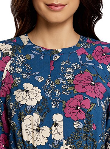 oodji Collection Mujer Vestido de Viscosa con Cinturón Azul (7467F)