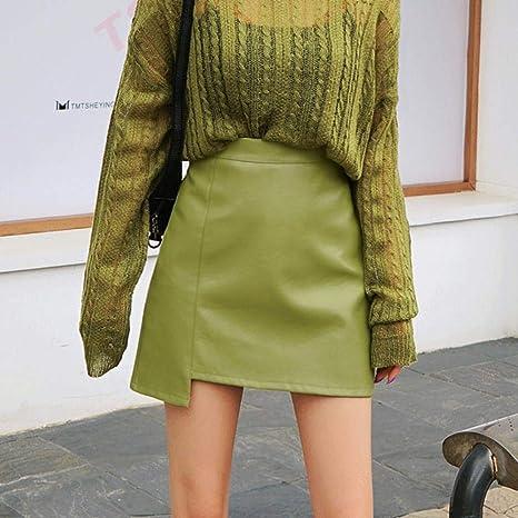 HSDFKD Office Lady High Waist PU Falda De Cuero Mujer Verano ...