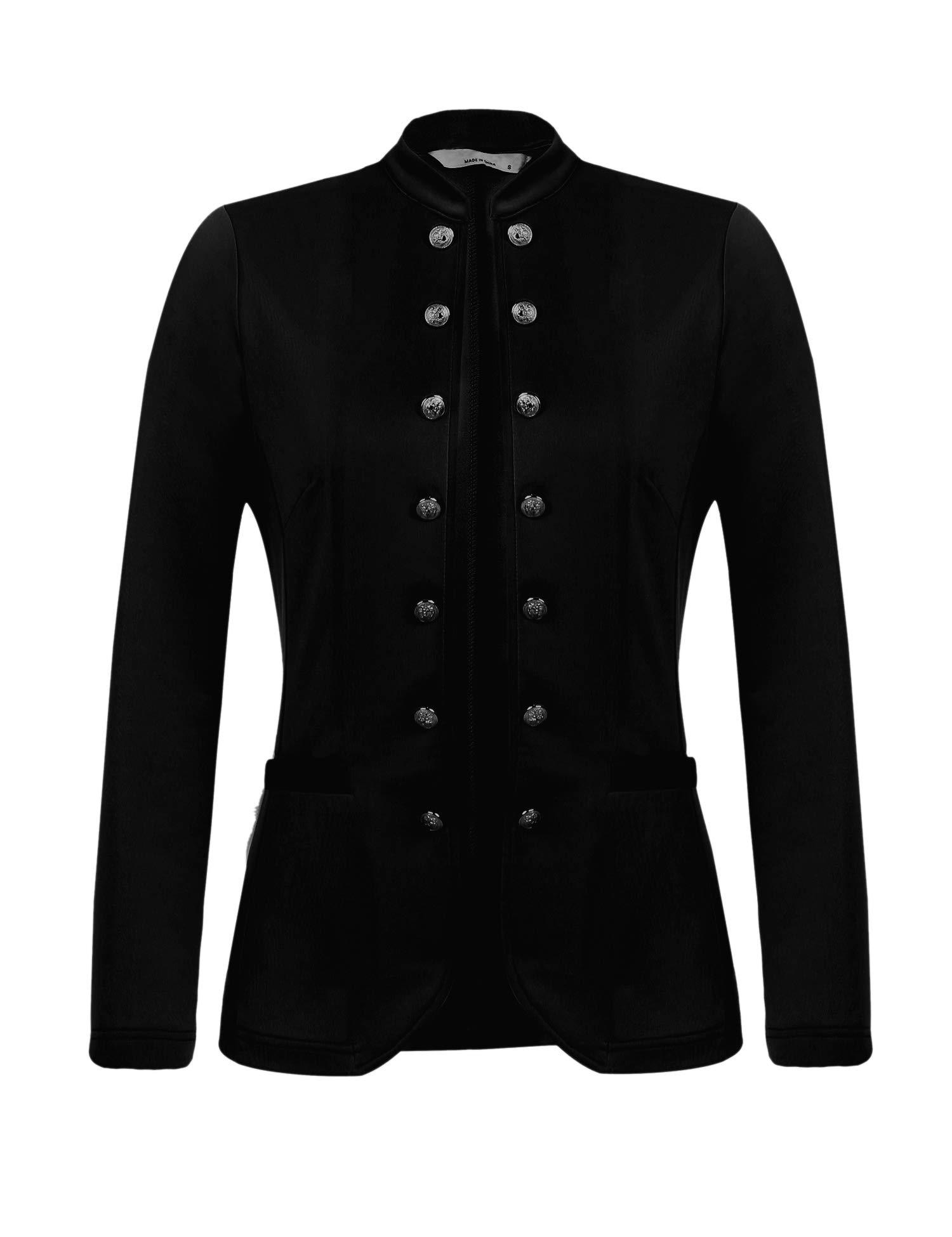 Beyove Women Casual Work Office Open Front Button Stand-up Collar Cardigan Blazer Jacket