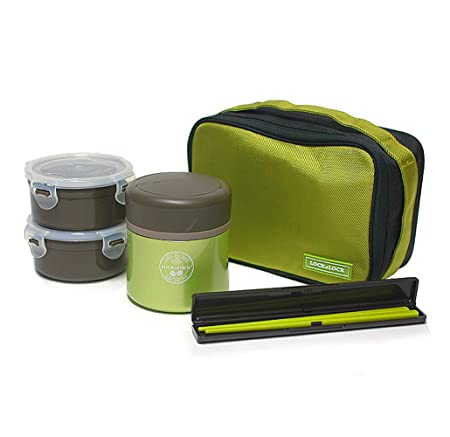 d37e8f53b750 Lock & Lock] Hot & Cool MIME Stainless Steel Vacuum Lunch Box (450ml ...