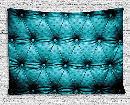 Ambesonne Turquoise Decor Collection, Buttoned Couch Sofa Bed Headboard Leather Cover Luxurious Upholstery Art, Bedroom Living Room Dorm Wall Hanging Tapestry, 80W X 60L ()
