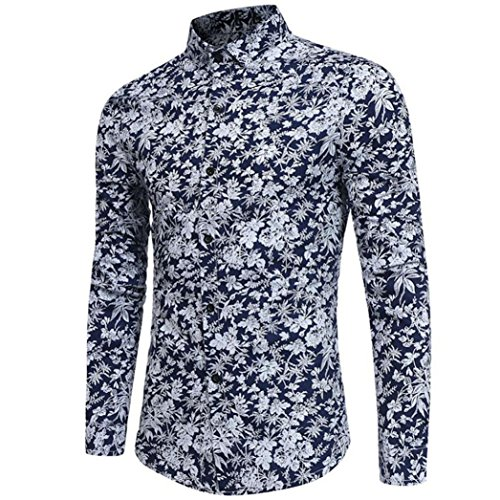 Batik Print Jacket - Longay Men's Prints Shirt Plus Size Slim Fit Long Sleeve Casual Button Shirts Formal Top Blouse (L, Navy)