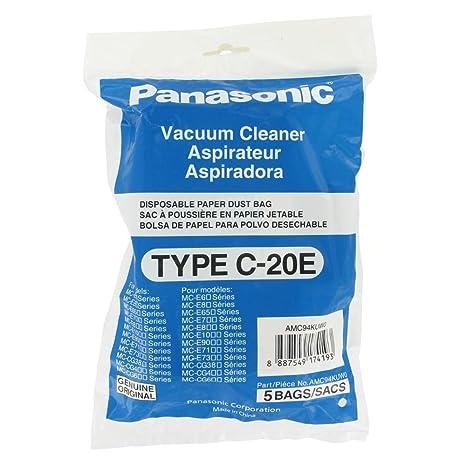Original Panasonic C20E bolsas de papel para aspirador (Incluye 5 Bolsas del Polvo)