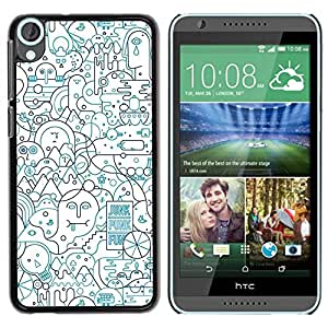 Paccase / SLIM PC / Aliminium Casa Carcasa Funda Case Cover para - Lines Abstract Art Pen Shape Busy - HTC Desire 820