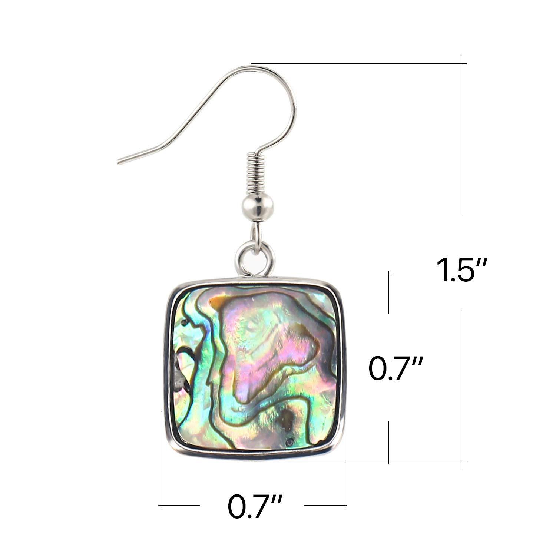 KISSPAT Natural Paua Abalone Shell Drop Dangle Earrings Fashion Jewelry for Women Girls