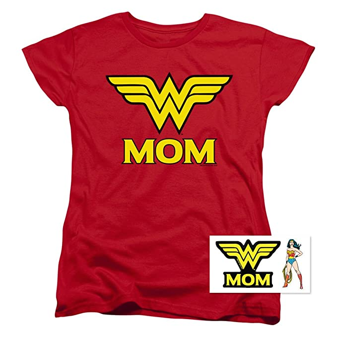 91e05af72 Wonder Woman Wonder Mom DC Comics Women's T Shirt & Stickers (Small) Red