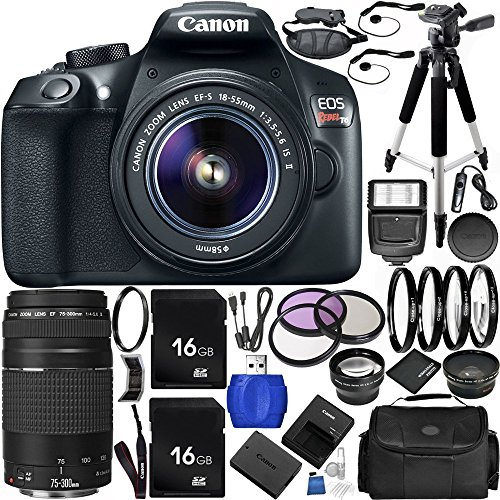 Canon EOS Rebel T6 DSLR Camera Bundle with 18-55mm f/3.5-5.6 IS II Lens, EF 75-300mm f/4-5.6 III Lens, Manufacturer Accessories, Carrying Case and Accessory Kit (31 Items)
