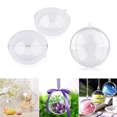 2 sfere trasparenti in plexiglass apribili da decorare natale 5 cm palla albero