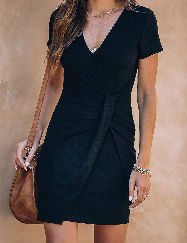 Toppshe Womens V-Neck Stretchy Short Sleeve Mini Dress Summer Pleated Twist Knot Party T Shirt Dress