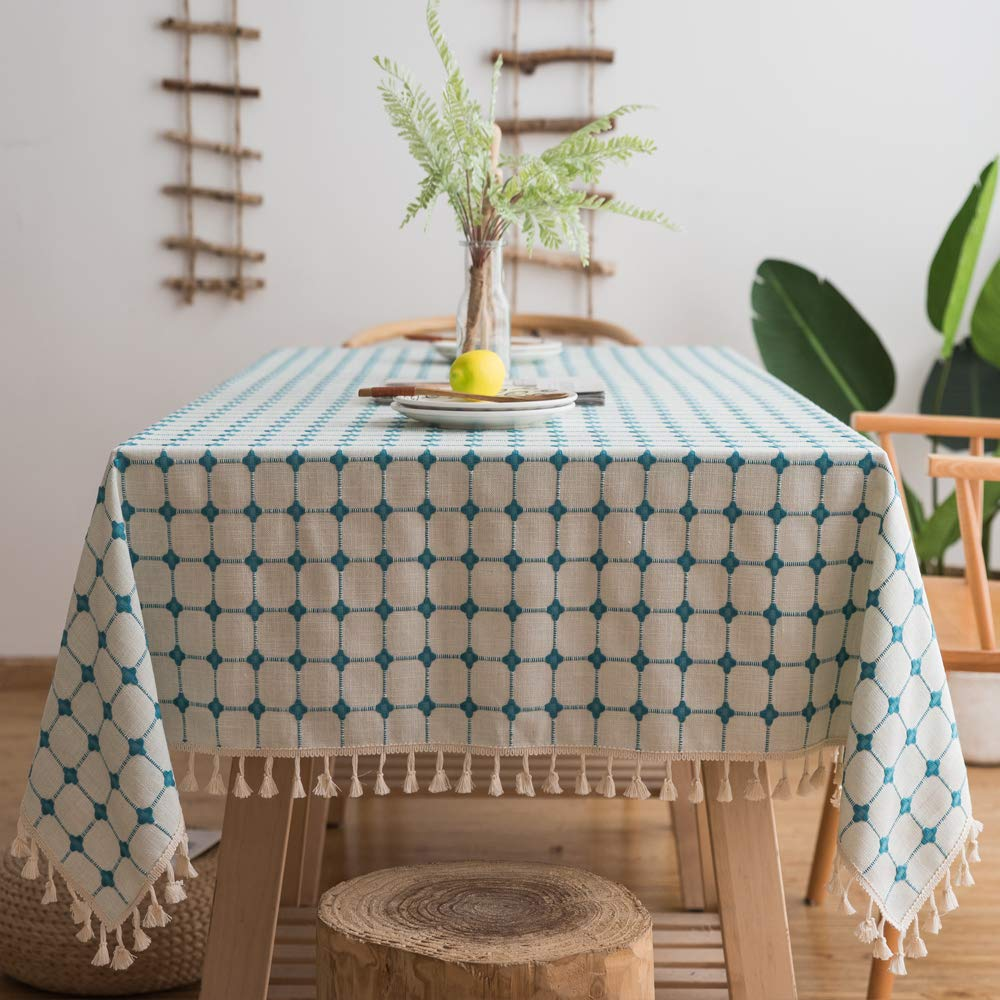 """Lamberia Cotton Linen Tablecloths with Tassel for Rectangle Tables Heavyweight Burlap Table Cover for Kitchen Dinning Tabletop Decoration (Light Blue, 55""""x86"""")"""