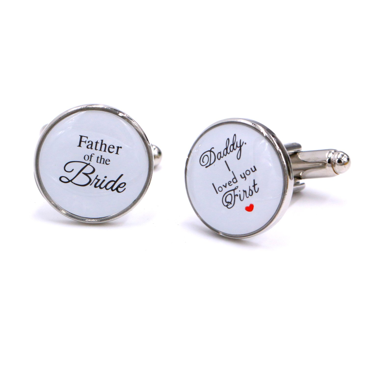 LParkin Wedding Gift Cuff Links -Father of the Bride ; Daddy I love you first (White) by LParkin (Image #1)