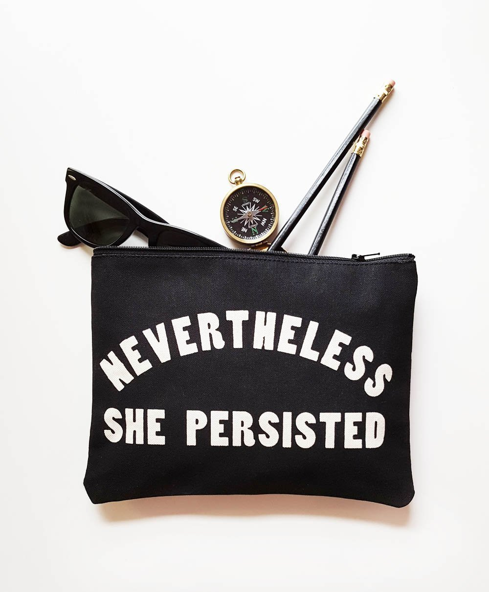 Nevertheless She Persisted Cotton Canvas Zipper Pouch Small Purse Made in USA