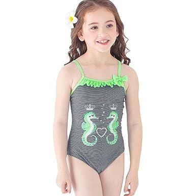 92780c47a96 Amazon.com: Fineser IKids Little Girls Swimsuit Seahorse Print Stripe One  Piece Swimwear Kids Beach Bathing Suit: Clothing
