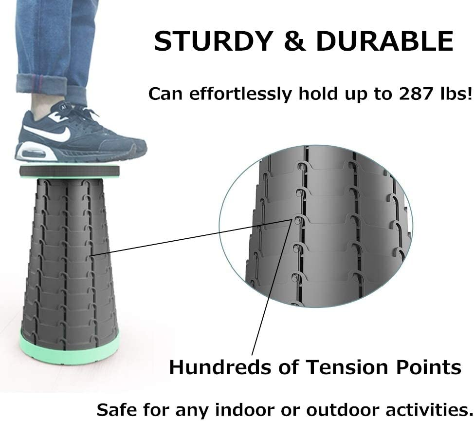 Aspeike Retractable Outdoor Folding Stool Up to 18 Inch Portable Stool for Adults or Kids for Camping Not for Sale to Israe Fishing Festival Garden Green Travel Hold up to 287lbs//130kg Park