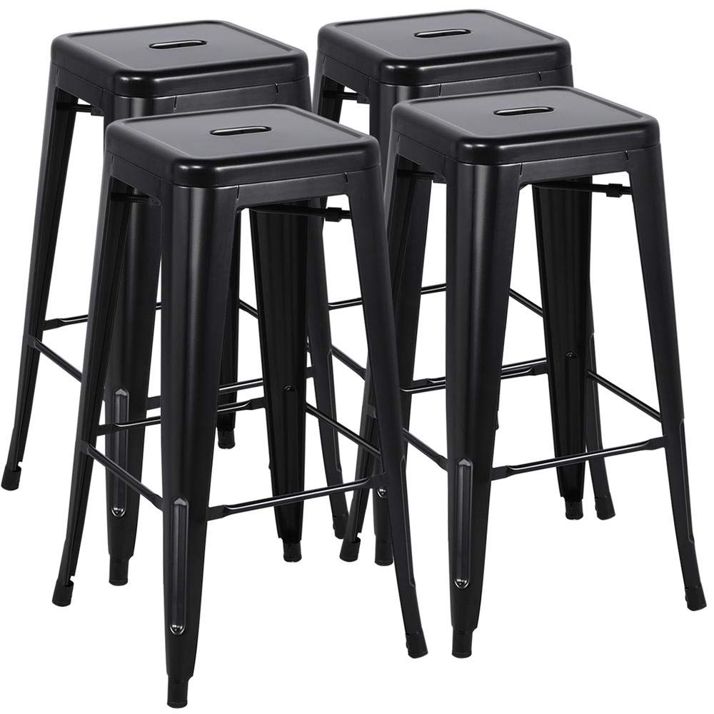 Yaheetech 30 inches Metal Bar Stools Set of 4 High Backless Barstool Stackable Bar/Counter Height Stools Chairs,Black by Yaheetech