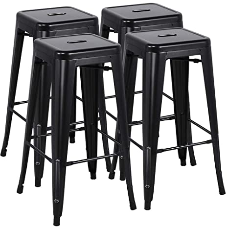 Surprising Yaheetech 30 Inches Metal Bar Stools Set Of 4 High Backless Barstool Stackable Bar Counter Height Stools Chairs Black Gmtry Best Dining Table And Chair Ideas Images Gmtryco