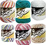 Variety Assortment Lily Sugar'n Cream Yarn 100% Cotton Solids and Ombres (6-Pack) Medium #4 Worsted (Asst 1)