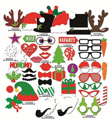 [Happy Christmas Photo Booth Props Sticks 50 Pieces, Holiday Day Decoration Santa for Party Supplies - DIY] (Diy Family Costumes)