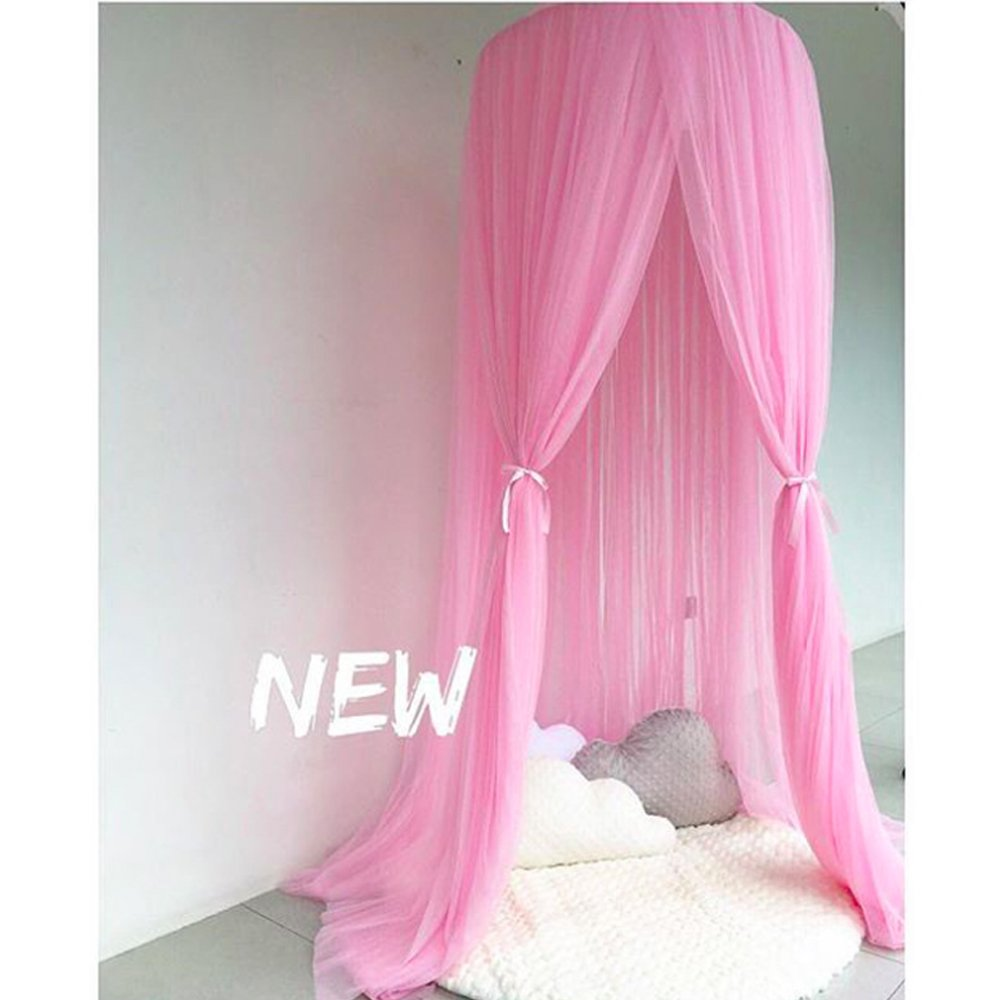 Dome Bed Mesh Canopy Fancy Gauze Curtain Fairy Tale Fantasy Dream Princess Castle Mosquito Net Sleeping Playing Reading Tent House Baby Kids Room Lace Decoration (BEIGE) CLEVER LIFE Habudda