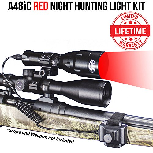 Wicked Lights A48iC RED Night Hunting Light Kit for Predator, varmint & Hog complete Red led light - Ambush Red