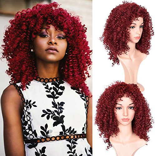 Good Quality Afro Kinky Curly Burgundy Color Wigs With Free Wig Cap Synthetic Kinkys Curly Christmas Cosplay Party Wig Full Wigs For Black Women(03M17-burgundy color)