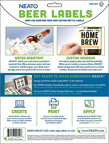 Neato Blank Beer Bottle Labels - 40 pack - Water Resistant, Vinyl, For InkJet Printers by Neato (Image #5)