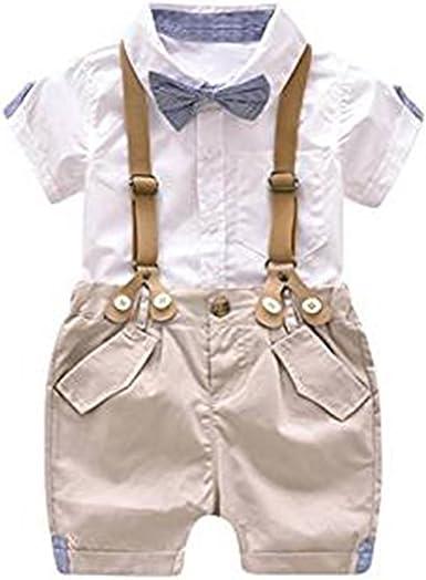 Conjunto de Ropa para bebé niño Conjunto de Mono para niño Conjunto de Ropa Camisa de Manga Corta + Tirante Corto con Pajarita: Amazon.es: Ropa y accesorios