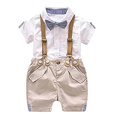 83cfcb7c7 Conjunto de Ropa para bebé niño Conjunto de Mono para niño Conjunto de Ropa  Camisa de Manga Corta + Tirante Corto con Pajarita  Amazon.es  Ropa y  accesorios