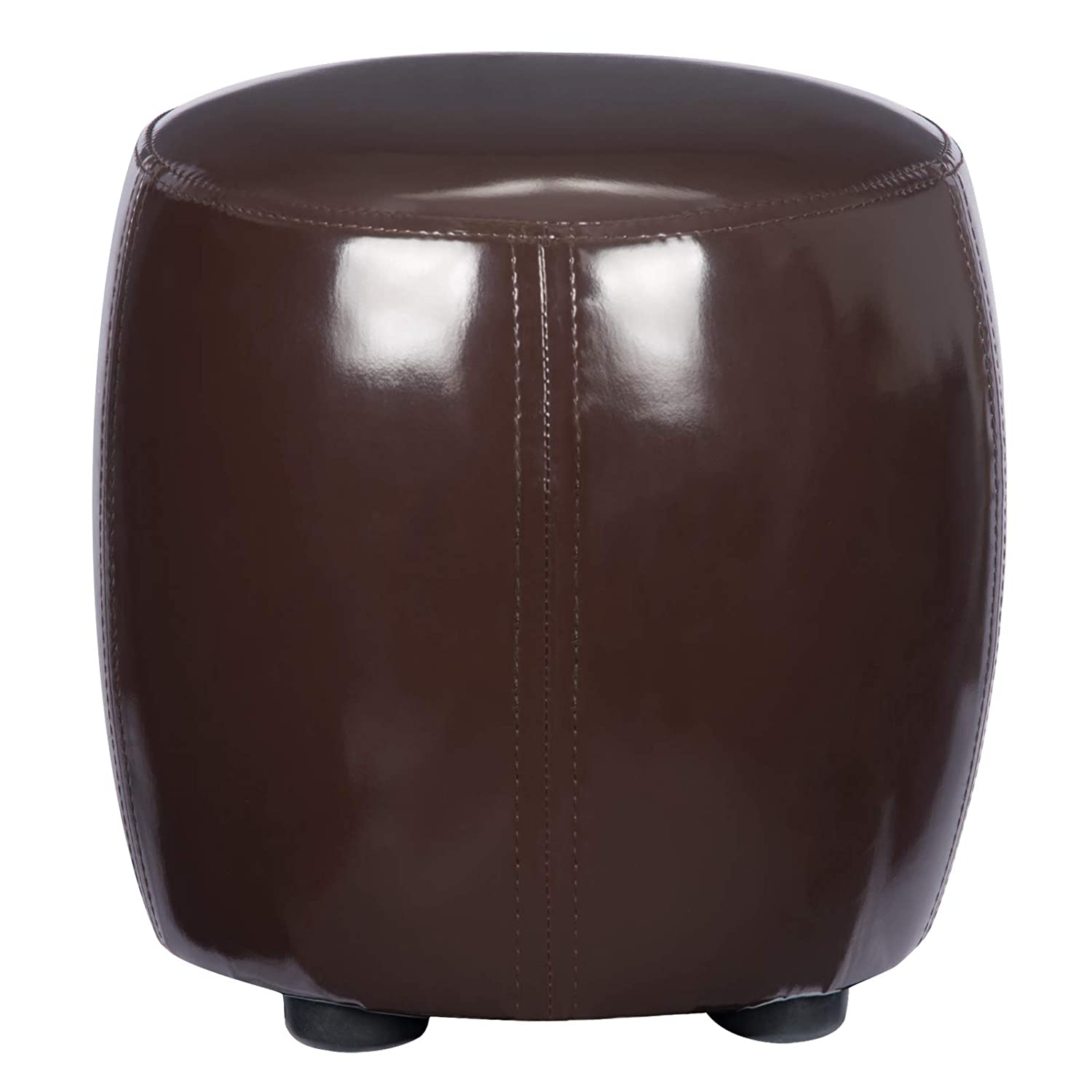 WOLTU Round Wooden Support Upholstered Footstool Black Ottoman Chair Stool Footrest