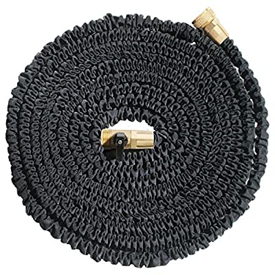 EconoLed 75ft Heavy Duty Expandable Hose (Black), Upgraded Brass Fittings and Shut-off Valve, Toughest, Flexible, Expanding Garden and Utility Hose (75 foot) - Extra Washers Included, 2 years Warranty