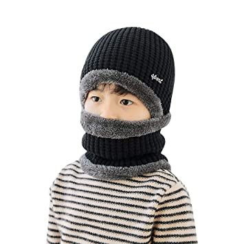 Knitted Baby Beanie Hat+Scarf Set For Girl Boy Winter Warm Caps Baby Accessories