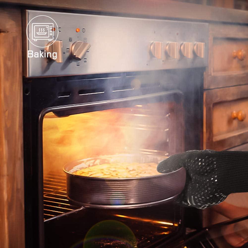 Backen 1472 /°F Extrem hitzebest/ändige Grillhandschuhe Kochen Schwarz, 1 Paar LALAYA Grillhandschuhe,Ofenhandschuhe Grill Grillen Anti-Rutsch Grillhandschuhe zum Grillen