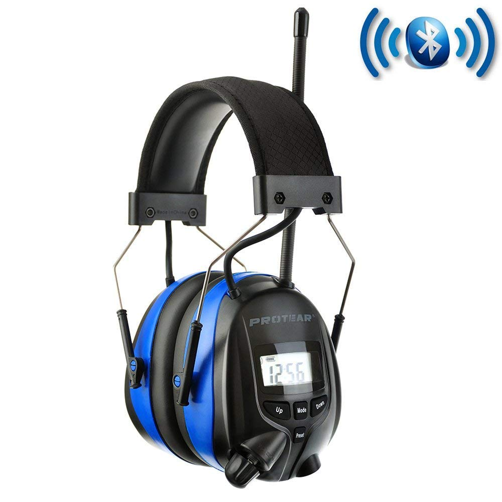 PROTEAR AM FM Headphones Bluetooth Rechargeable NRR 25dB Noise Reduction Safety Earmuffs for Lawn Mowing Ourside Work,with a Carrying Case by PROTEAR (Image #2)