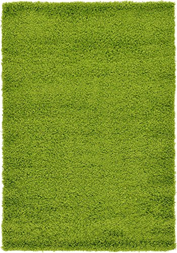 (Unique Loom Solo Solid Shag Collection Modern Plush Grass Green Area Rug (4' x 6'))