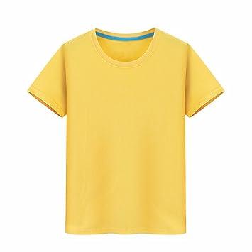 XIAOGEGE La Camiseta Amarilla Custom T-Shirts, Vestidos de Media Manga 100% Algodón